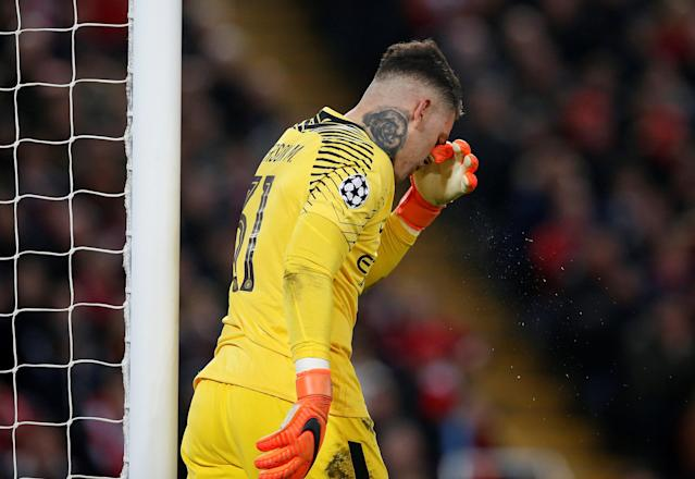 <p>Soccer Football – Champions League Quarter Final First Leg – Liverpool vs Manchester City – Anfield, Liverpool, Britain – April 4, 2018 Manchester City's Ederson looks dejected after Liverpool's Sadio Mane (not pictured) scored their third goal REUTERS/Andrew Yates </p>