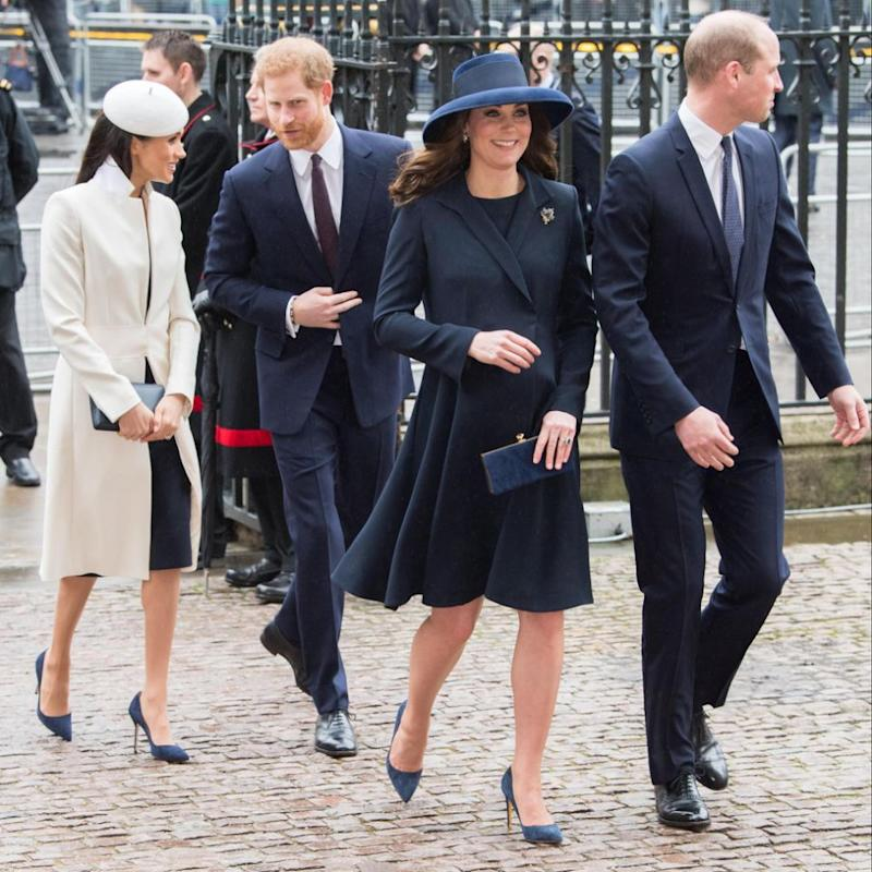 Meghan Markle and Kate Middleton appeared to be wearing exactly the same shoes on Monday. Photo: Getty