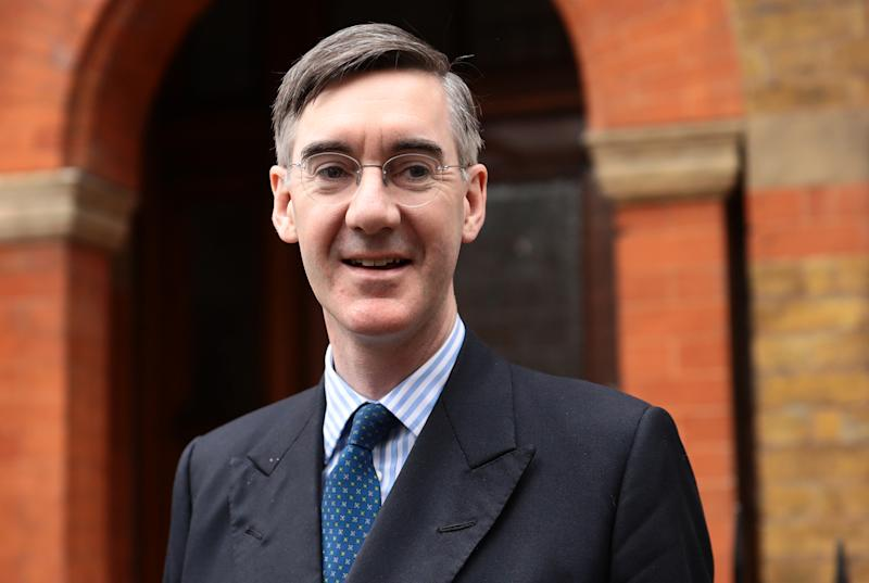 LONDON, ENGLAND - MARCH 28: Conservative MP Jacob Rees-Mogg leaves his home on March 28, 2019 in London, England. None of the eight proposals put to the vote in the House of Commons as an alternative to Theresa May's Brexit Deal secured clear backing of Members of Parliament. MPs voted down each one in turn last night, leaving the Prime Minister's deal as a possible way forward if the Speaker allows a third Meaningful Vote to be brought before the House. (Photo by Dan Kitwood/Getty Images)