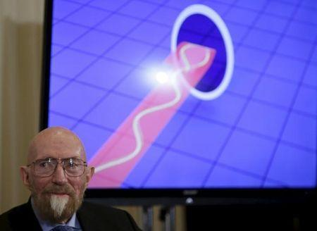 Dr. Kip Thorne of Caltech listens during a news conference to discuss the detection of gravitational waves, ripples in space and time hypothesized by physicist Albert Einstein a century ago, in Washington February 11, 2016. REUTERS/Gary Cameron