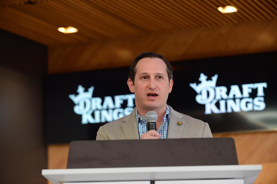 BOSTON, MA - MARCH 26: DraftKings CEO and Co-Founder Jason Robins speaks during the unveiling of DraftKings headquarters March 26, 2019 in Boston, Massachusetts. (Photo by Darren McCollester/Getty Images for DraftKings)