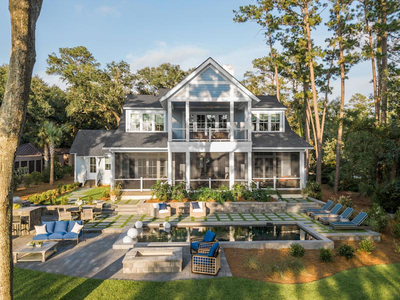 The HGTV Dream Home 2020 backyard is a true oasis with marsh front views, an outdoor kitchen and a large pool.