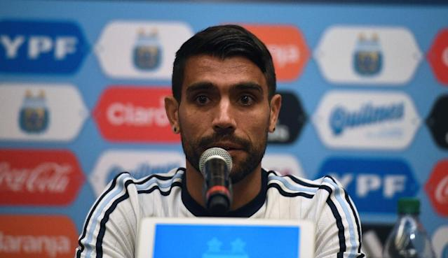 Argentina's Augusto Fernandez speaks during a press conference on the opening day of the Copa America Centenario football tournament, in Santa Clara, California June 3, 2016 (AFP Photo/MARK RALSTON)