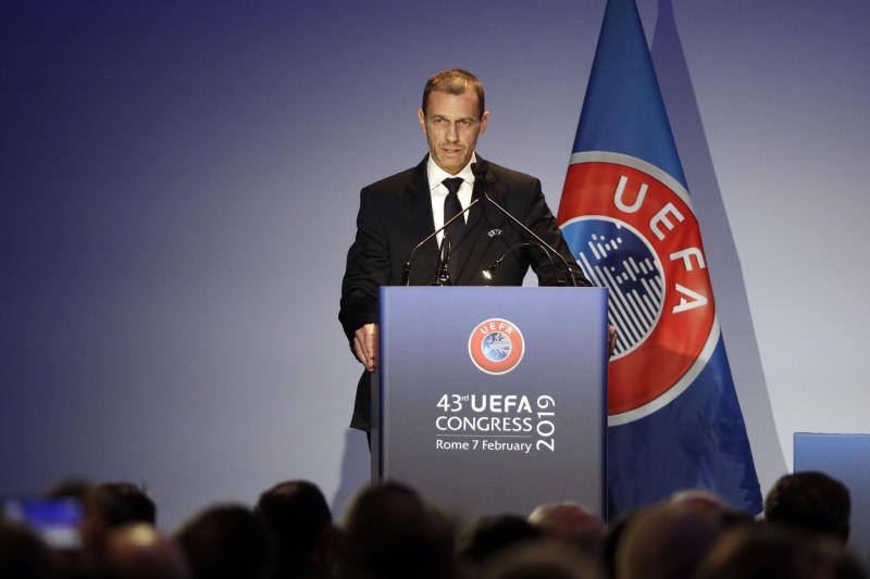 UEFA President Aleksander Ceferin delivers his speech during the 43rd UEFA congress in Rome, Thursday, Feb. 7, 2019. As the only candidate for election, FIFA President Gianni Infantino is set to serve four more years as the leader of soccer's governing body. (AP Photo/Gregorio Borgia)