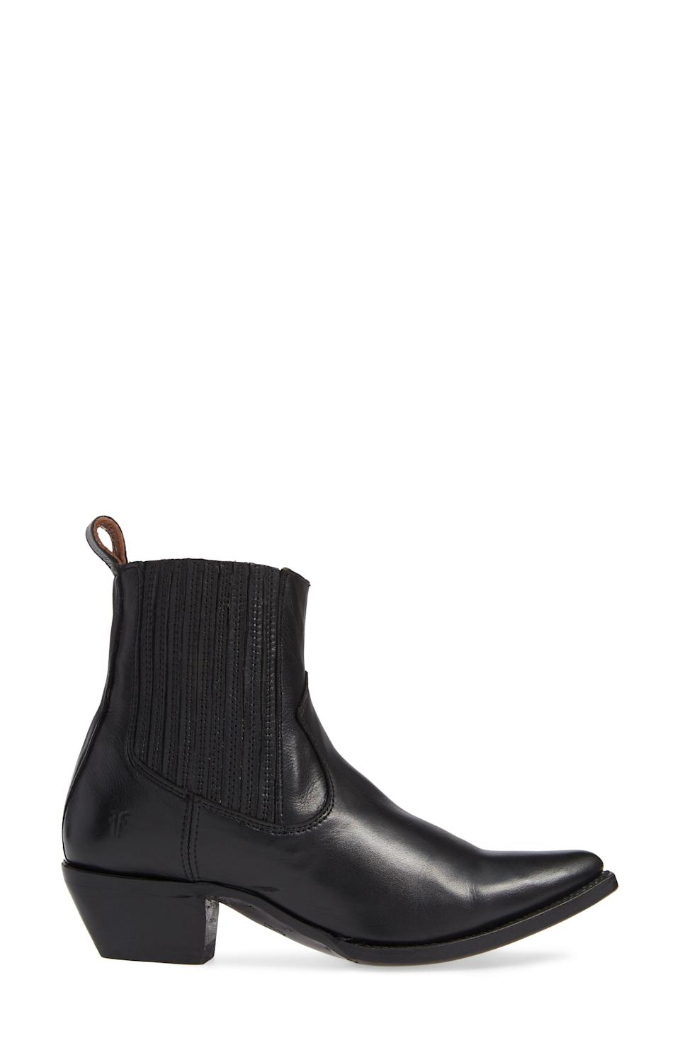 """<p><strong>FRYE</strong></p><p>nordstrom.com</p><p><a href=""""https://go.redirectingat.com?id=74968X1596630&url=https%3A%2F%2Fwww.nordstrom.com%2Fs%2Ffrye-sacha-western-bootie-women%2F6412451&sref=https%3A%2F%2Fwww.harpersbazaar.com%2Ffashion%2Ftrends%2Fg36946278%2Fnordstrom-anniversary-sale-fashion%2F"""" rel=""""nofollow noopener"""" target=""""_blank"""" data-ylk=""""slk:Shop Now"""" class=""""link rapid-noclick-resp"""">Shop Now</a></p><p><strong>Sale: $200</strong></p><p><strong>After Sale: $298</strong></p><p>Cowboy boots are another timeless must. </p>"""