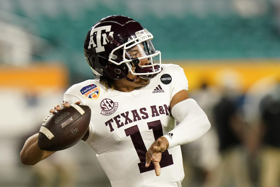 Texas A&M QB Kellen Mond was the second quarterback selected in our mock Senior Bowl draft. (AP Photo/Lynne Sladky)