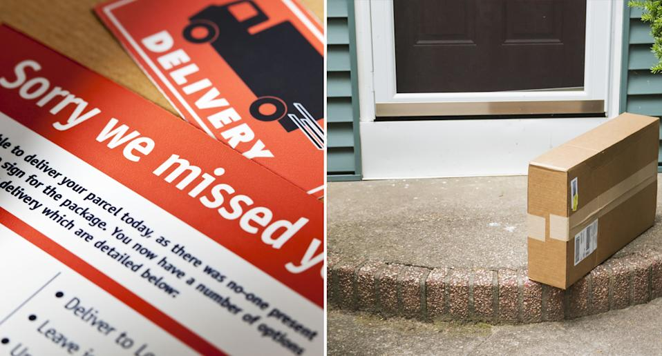 A card requiring mail collection (left) and a parcel left by a front door (right)