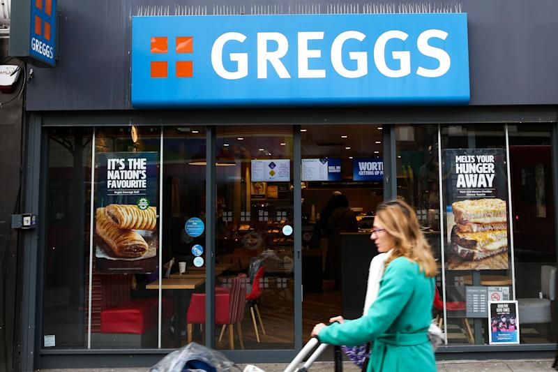 LONDON, UNITED KINGDOM - 2020/02/17: A woman walks past Greggs restaurant in London. (Photo by Dinendra Haria/SOPA Images/LightRocket via Getty Images)