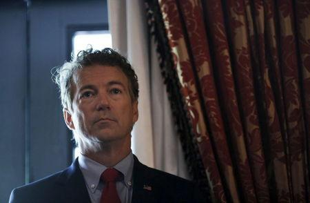 """Republican presidential candidate Senator Rand Paul (R-KY) waits before addressing a legislative luncheon held as part of the """"Road to Majority"""" conference in Washington June 18, 2015. REUTERS/Carlos Barria"""