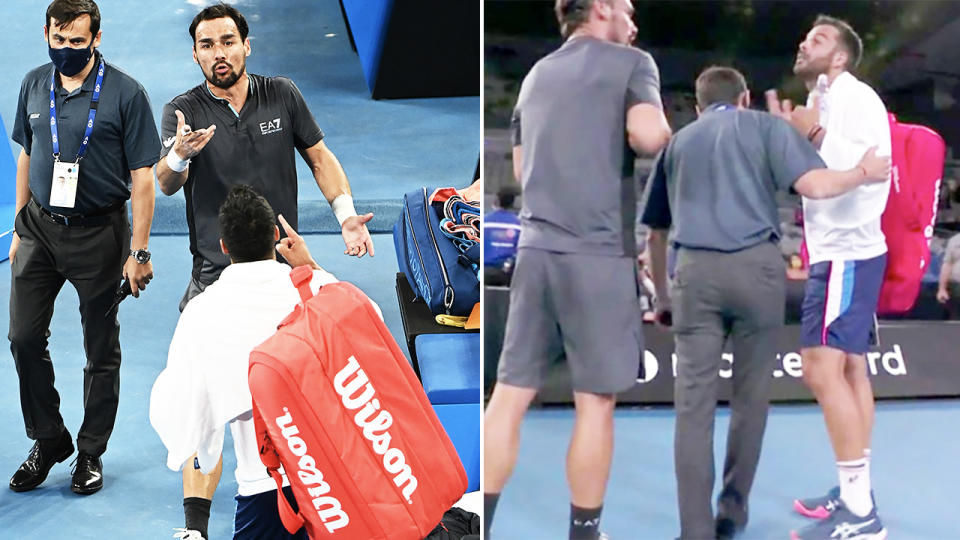 Fabio Fognini and Salvatore Caruso, pictured here having to be separated by the tournament supervisor.