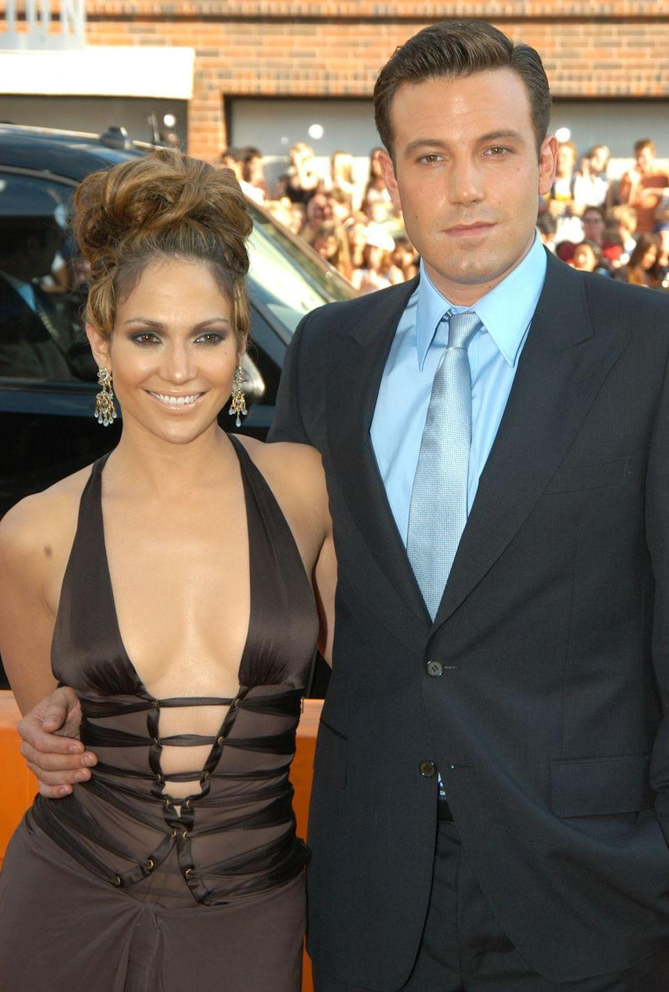 """<p>Ben has had other super high-profile relationships with his costars. Among them is Jenny from the Block herself. JLo and Ben (Bennifer, if you will) started dating on the set of Gigli in 2002. </p><p>The couple was engaged to be married, but they called off the wedding weeks before the nuptials. 'We didn't try to have a public relationship,' <a href=""""https://www.eonline.com/de/news/751699/jennifer-lopez-reflects-on-past-relationship-with-ben-affleck-there-was-a-genuine-love"""" rel=""""nofollow noopener"""" target=""""_blank"""" data-ylk=""""slk:Jennifer said"""" class=""""link rapid-noclick-resp"""">Jennifer said</a> years later. 'We just happened to be together at the birth of the tabloids, and it was like, """"Oh my God."""" It was just a lot of pressure.'</p>"""