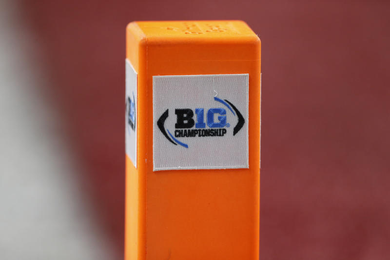 INDIANAPOLIS, IN - DECEMBER 07: The B1G Championship Logo on the goal line pylon during the Big 10 Conference Championship game between the Wisconsin Badgers and Ohio State Buckeyes on December 7, 2019, at Lucas Oil Stadium in Indianapolis, IN.(Photo by Jeffrey Brown/Icon Sportswire via Getty Images)