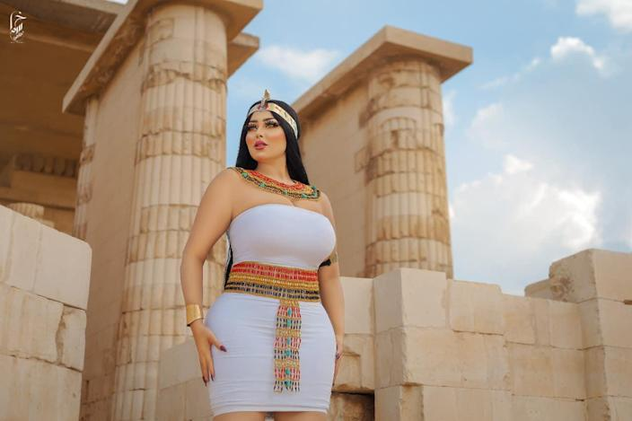 Model Salma El-Shimy poses at the archaeological site of Saqqara, in Giza, Egypt, during a shoot with photographer Hossam Muhameed. Both were arrested and have been charged with photography without a permit for the shoot, which sparked a huge backlash in Egypt. / Credit: Salma El-Shimy/Facebook/Hossam Muhameed