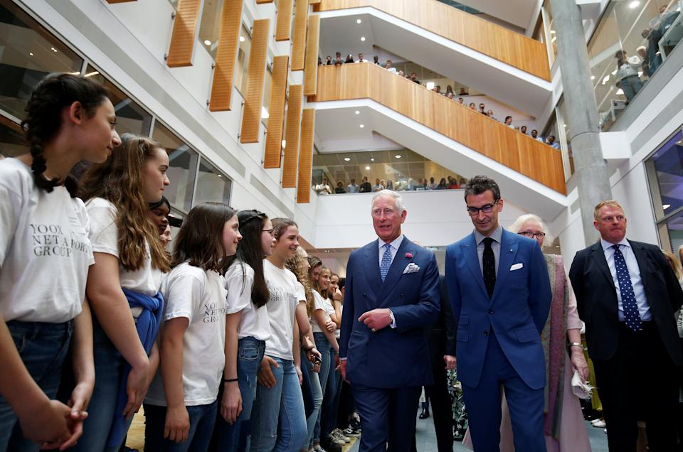 LONDON, ENGLAND - MAY 16:  Prince Charles, Prince of Wales visits the new Tech Hub, with Chief Executive of Yoox Net-a-Porter Group Federico Marchetti, at the Yoox Net-a-Porter Group offices on May 16, 2018 in London England. (Photo by Henry Nicholls - WPA Pool/Getty Images)