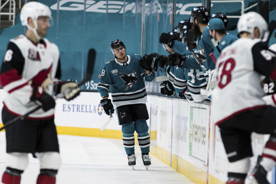 San Jose Sharks right wing Timo Meier (28) is congratulated for his goal against the Arizona Coyotes during the second period of an NHL hockey game in San Jose, Calif., Saturday, May 8, 2021. (AP Photo/John Hefti)