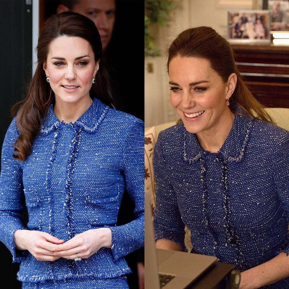 <p>Kate first wore this Rebecca Taylor tweed look in 2017, for a visit to the Ronald McDonald House at Evelina London, then donned it once again in 2021, for a video call with teachers. </p>