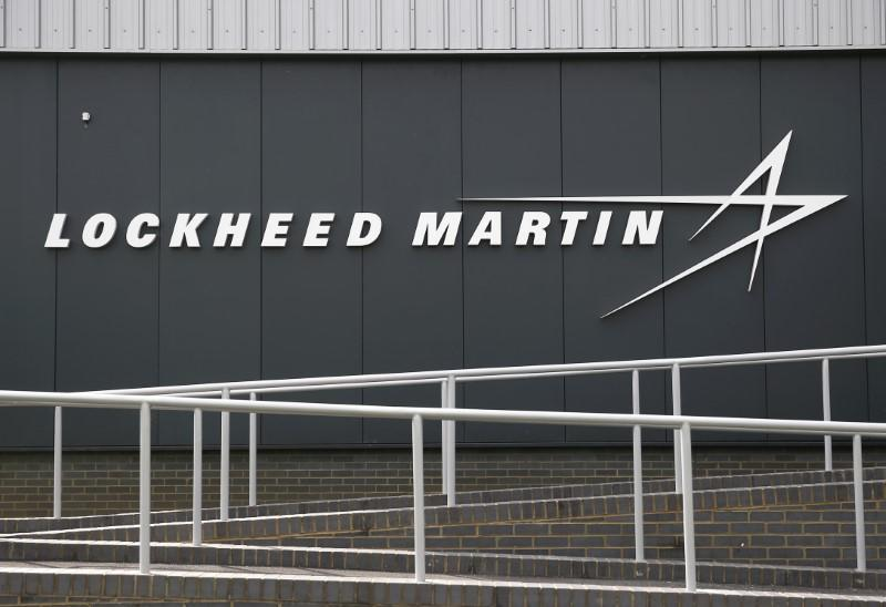 A sign at the new Lockheed Martin Manufacturing Centre of Excellence is seen at the company's headquarters in Ampthill near Bedford
