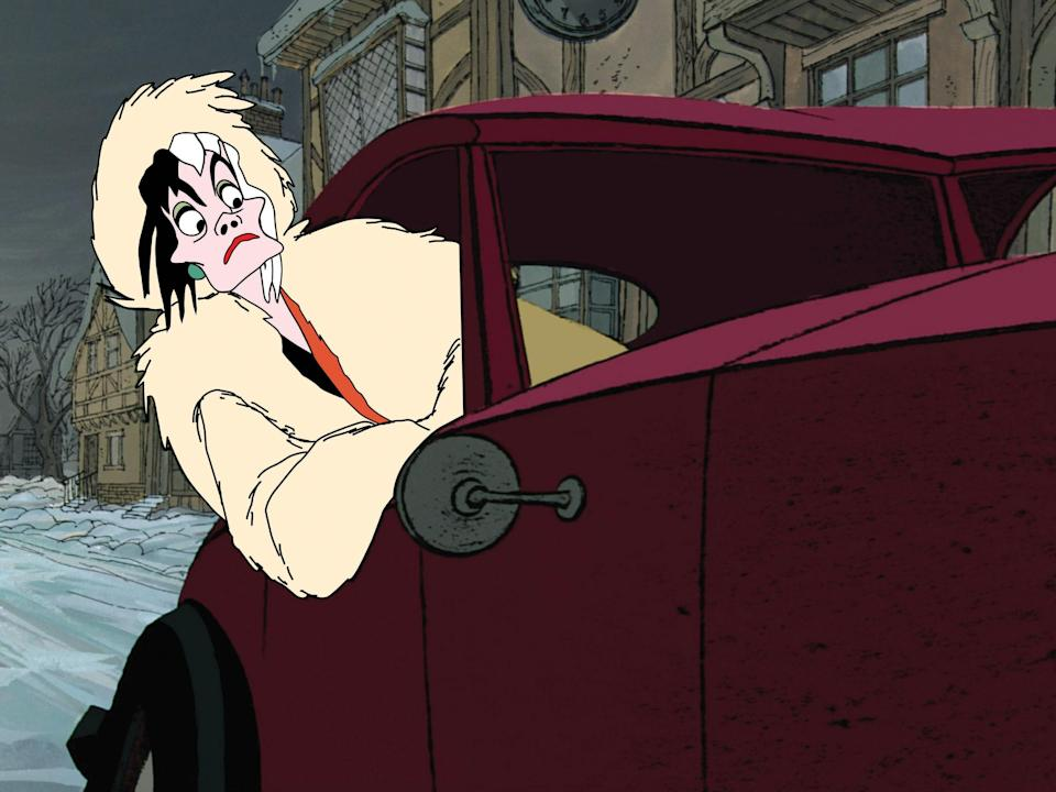 """<p>Cruella de Vil remains one of the most distinct Disney villains of all time. The hair, the extravagant clothes, the long cigarettes: She's honestly perfect. Glenn Close was marvelous as her in the '90s <em>101 Dalmatians</em> live adaptation, and Emma Stone surely will be too, in the origin-story movie <a href=""""https://www.glamour.com/story/emma-stone-is-chic-and-spooky-in-the-first-trailer-for-disneys-cruella?mbid=synd_yahoo_rss"""" rel=""""nofollow noopener"""" target=""""_blank"""" data-ylk=""""slk:due out in 2021"""" class=""""link rapid-noclick-resp"""">due out in 2021</a>.</p> <p><a href=""""https://cna.st/affiliate-link/5UdVcLUZwSpsX4M5jYeqMSTYh5oEEZzqmc7KA2dWL1Zj6rhWoFLdUrTUcdqFrMR9fRStLfXgoSLMiS4ksCgE1zBsa5bGpRsVDUUnGZJBDjYyXo3GHYabtjeTqegQt9pdUfQqUhrChaPueZWFv?cid=5e864a44c1062e00081a524e"""" rel=""""nofollow noopener"""" target=""""_blank"""" data-ylk=""""slk:Available on Disney+"""" class=""""link rapid-noclick-resp""""><em>Available on Disney+</em></a></p>"""