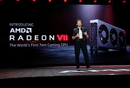 Lisa Su, president and CEO of AMD, introduces the Radeon VII, a 7nm gaming graphics card during a keynote address at the 2019 CES in Las Vegas, Nevada, U.S., January 9, 2019. REUTERS/Steve Marcus