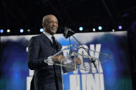 FILE - Drew Pearson announces the Dallas Cowboys pick during the second round of the NFL Draft on Friday, April 30, 2021, in Cleveland. Pearson is headed to the Pro Football Hall of Fame as part of the class of 2021 after the disappointment of not getting in a year earlier. The former Cowboys receiver joins 1970s-era offensive teammates Roger Staubach and Tony Dorsett in the hall. (AP Photo/Steve Luciano, file)