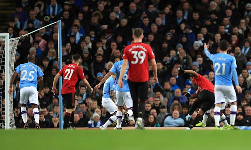 Manchester United's Anthony Martial scores his side's second goal of the game during the Premier League match at the Etihad Stadium, Manchester. (Photo by Mike Egerton/PA Images via Getty Images)