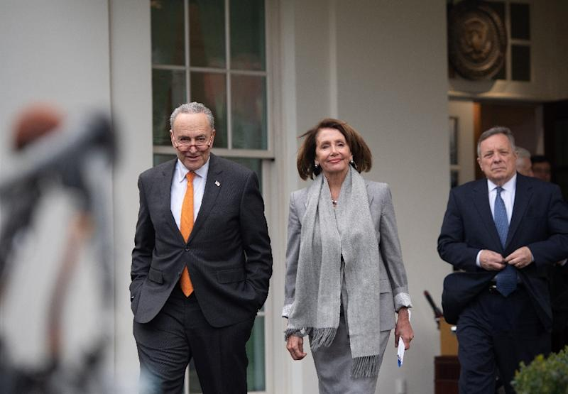 Senator Dick Durbin (R), seen with Senate Democratic leader Chuck Schumer and House speaker Nancy Pelosi after a recent meeting with US President Donald Trump, has urged Trump to 'put an end to the shutdown' (AFP Photo/SAUL LOEB)