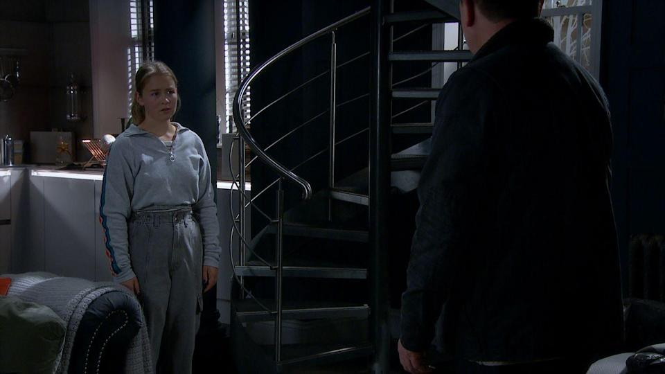 <p>She realises that Vinny's dad is threatening her.</p>