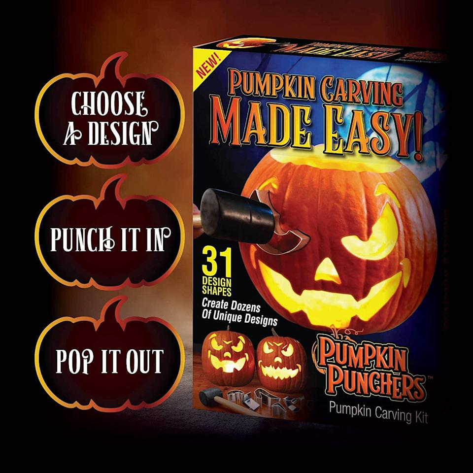 """<strong><h2>Pumpkin Punchers</h2></strong> <br> <strong>Best For: The Time Saver</strong> <br>This cookie-cutter-like carving kit is guaranteed to save you time (and your aching wrists). It's great if you love the look of a classic Jack-o'-lantern but are artistically challenged — and/or hate incessant back-and-forth jabbing. <br> <br> <em>Shop</em> <a href=""""https://amzn.to/36nsz4d"""" rel=""""nofollow noopener"""" target=""""_blank"""" data-ylk=""""slk:Pumpkin Punchers"""" class=""""link rapid-noclick-resp""""><strong><em>Pumpkin Punchers </em></strong></a> <br> <br> <strong>Pumpkin Punchers</strong> Pumpkin Punchers, $, available at <a href=""""https://amzn.to/30kgoBx"""" rel=""""nofollow noopener"""" target=""""_blank"""" data-ylk=""""slk:Amazon"""" class=""""link rapid-noclick-resp"""">Amazon</a>"""
