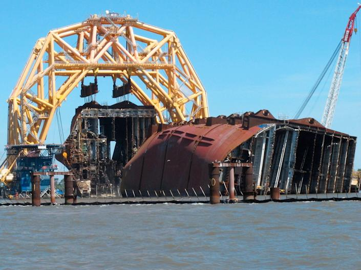 Overturned Cargo Ship Georgia (Copyright 2021 The Associated Press. All rights reserved.)