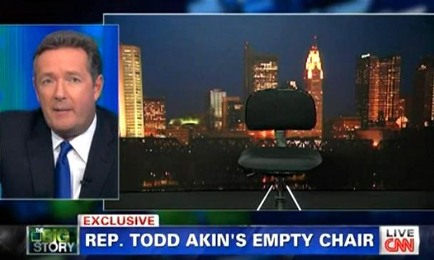 Akin cancels CNN interview, leaving Piers Morgan with an empty chair