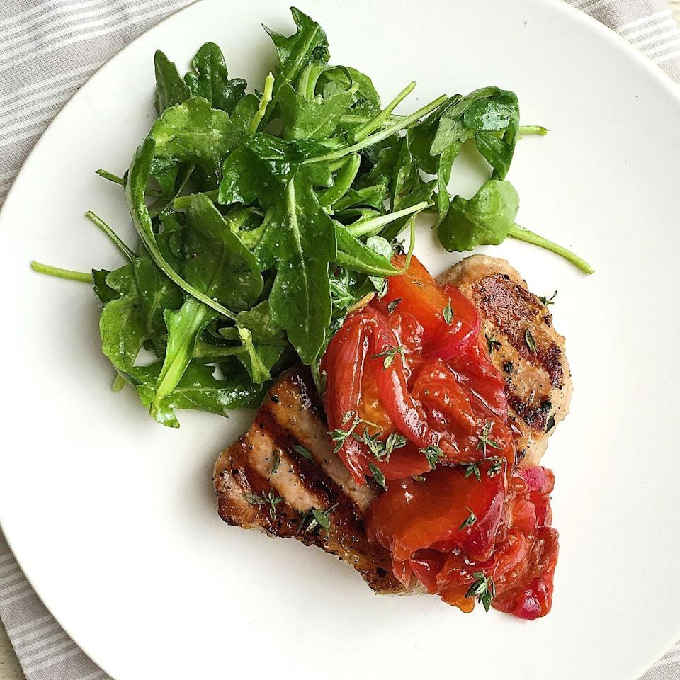 """<p>Plums add a nice sweetness to this pork chop recipe.</p><p>Get the recipe from <a href=""""https://www.delish.com/cooking/recipe-ideas/recipes/a43147/grilled-pork-chops-plums-recipe/"""" rel=""""nofollow noopener"""" target=""""_blank"""" data-ylk=""""slk:Delish"""" class=""""link rapid-noclick-resp"""">Delish</a>.</p>"""