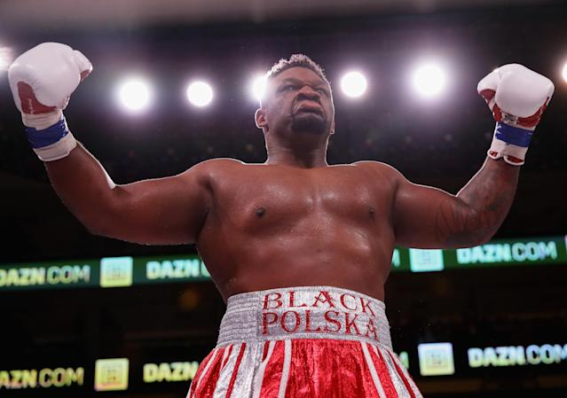 "Brooklyn's Jarrell ""Big Baby"" Miller will challenge for the IBF-WBA-WBO heavyweight title on June 1 when he faces Anthony Joshua at Madison Square Garden in a fight streamed on DAZN. (Getty Images)"