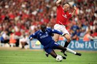 No nonsense defender Japp Stam became a record breaker when he signed for English club Manchester United from PSV in 1998 for £10.6 million. Not only did his transfer break the record for a defender, it also broke the record for the price paid for a Dutchman. (Credit: Getty Images)
