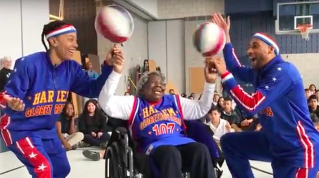 Woman Celebrates Her 109th Birthday With The Harlem Globetrotters