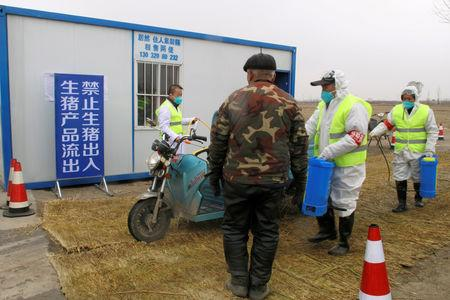 FILE PHOTO: Workers in protective suits disinfect a vehicle at a checkpoint on a road leading to a farm owned by Hebei Dawu Group where African swine fever was detected, in Xushui district of Baoding, Hebei province, China February 26, 2019. Picture taken February 26, 2019. REUTERS/Hallie Gu/File Photo