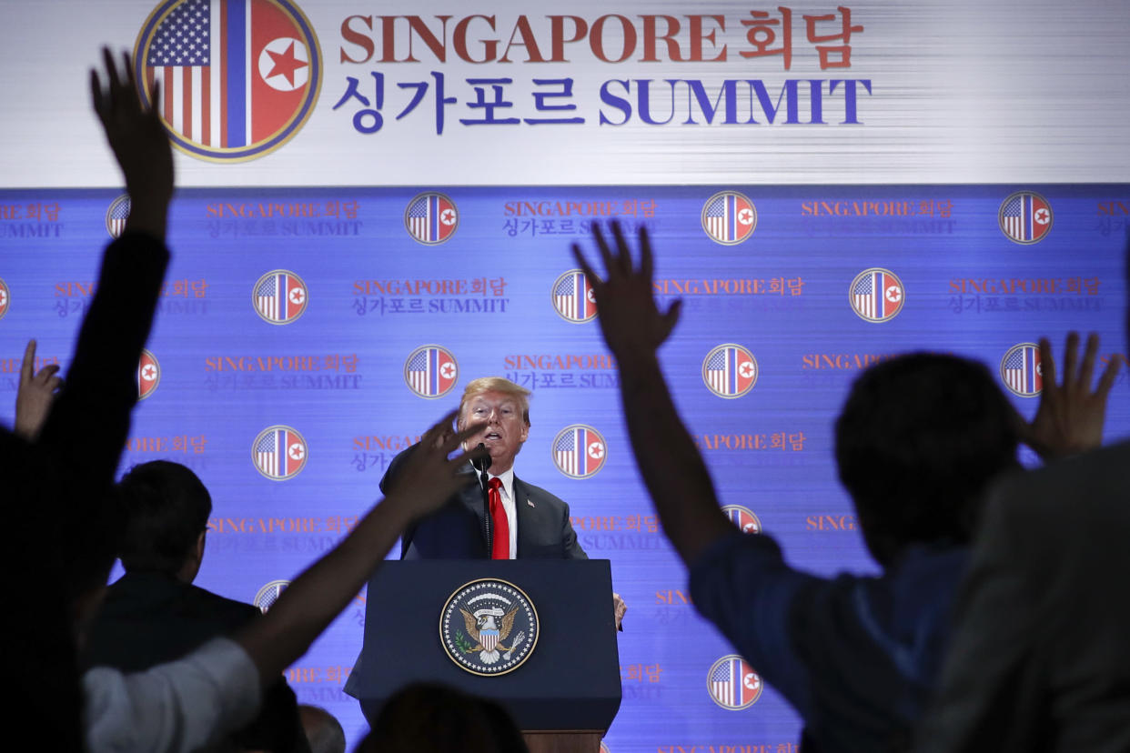 President Trump answers questions about the summit with North Korea leader Kim Jong Un during a press conference at the Capella resort on Sentosa Island on June 12, 2018, in Singapore. (Photo: Evan Vucci/AP)