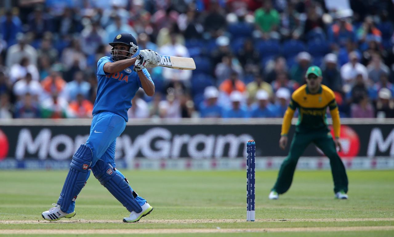 India's Rohit Sharma hooks during the ICC Champions Trophy match against South Africa at the SWALEC Stadium, Cardiff.