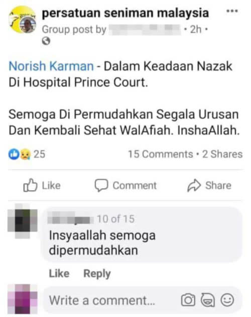 The previous post stating that Norish was ill