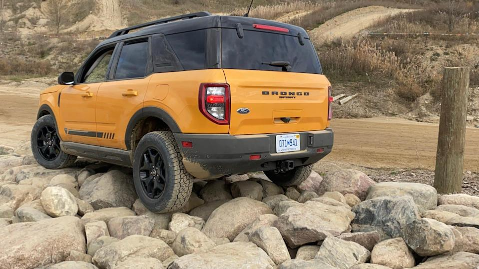 The 2021 Ford Bronco Sport has 8.1 inches of rear suspension travel