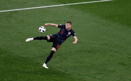 Croatia's Ante Rebic scores their first goal. REUTERS/Carlos Barria
