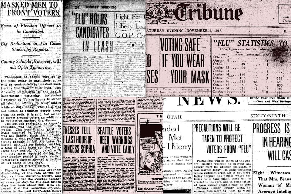 Newspaper headlines about the Flu, 1918