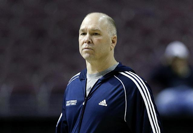 St. Mary's head coach Randy Bennett watches during practice for a second-round game of the NCAA college basketball tournament at The Palace in Auburn Hills, Mich., Wednesday, March 20, 2013. St. Mary's will face Memphis on Thursday. (AP Photo/Paul Sancya)