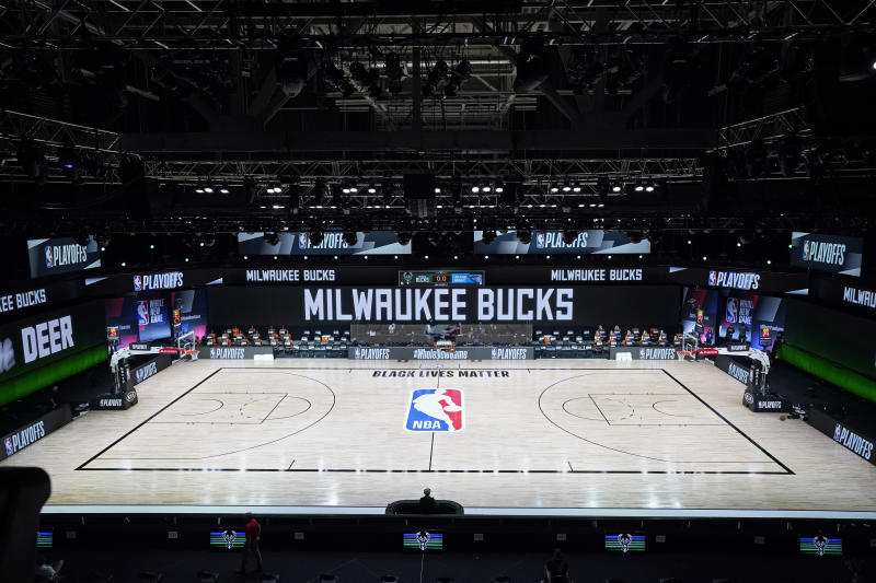 NBA court after Milwaukee Bucks boycott