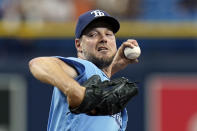 Tampa Bay Rays' Rich Hill goes into his windup against the Baltimore Orioles during the first inning of a baseball game Saturday, June 12, 2021, in St. Petersburg, Fla. (AP Photo/Chris O'Meara)