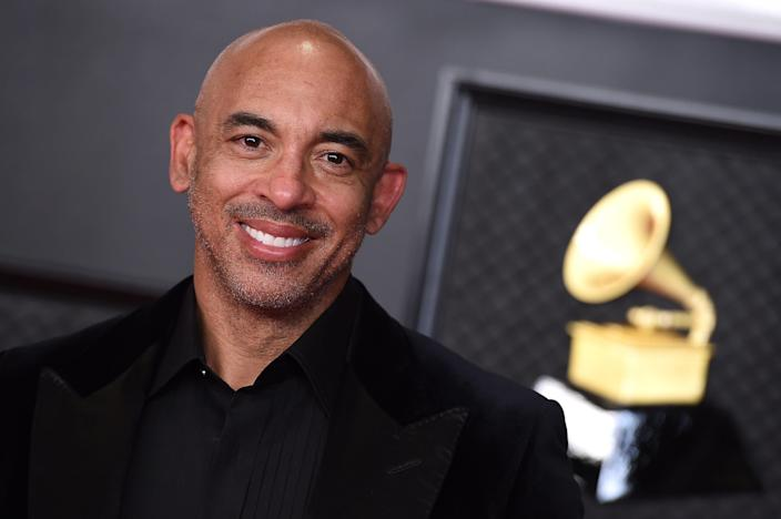 Harvey Mason Jr. arrives at the 63rd annual Grammy Awards on March 14, 2021. Mason was named the official president and CEO of The Recording Academy May 13, 2021.