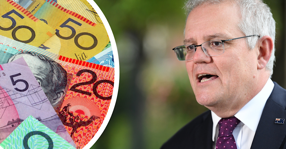 Australian currency and Prime Minister Scott Morrison annoucing additional support measures