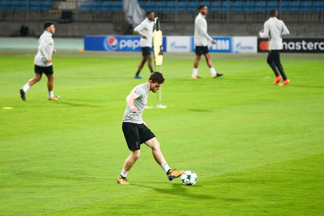 Liverpool defender Andy Robertson trains in Slovenia ahead of Tuesday night's clash against Maribor