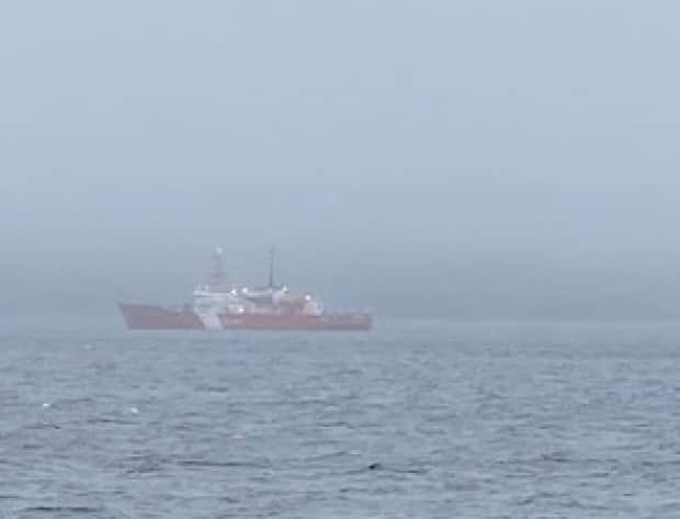 CCGS Cape Roger, pictured in March, was part of the search for the missing fisher on Sunday. Halifax's Joint Rescue Coordination Centre later announced that the search had been suspended. (Name withheld by request - image credit)