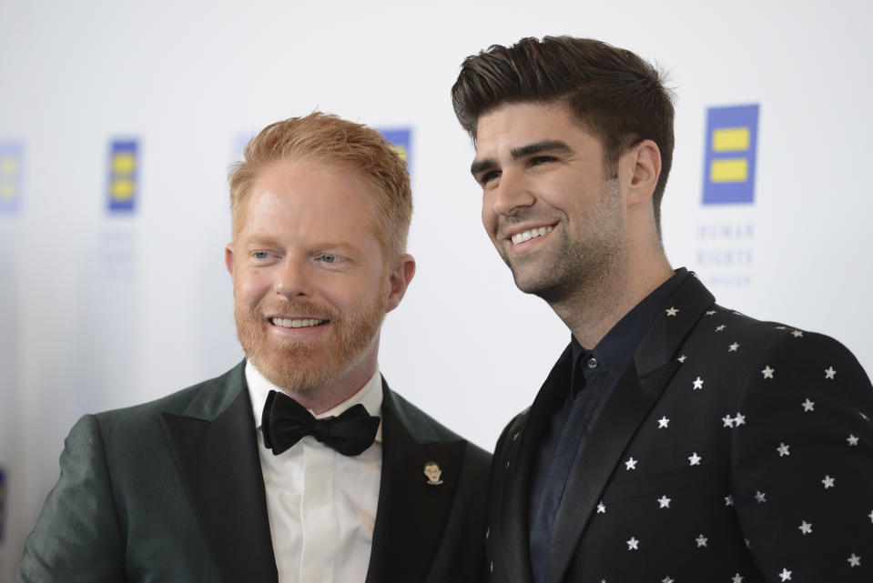 Jesse Tyler Ferguson and Justin Mikita attend the 2019 Human Rights Campaign Los Angeles Dinner at the JW Marriott LA LIVE on Saturday, Mar. 30, 2019. (Photo by Jordan Strauss/Invision/AP)
