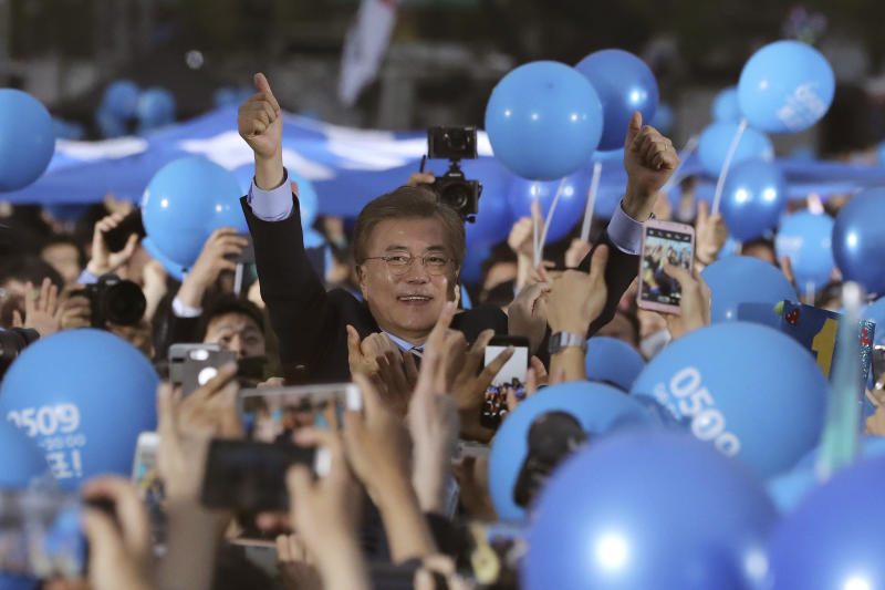 South Korea's newly elected liberal president Moon Jae starts duties